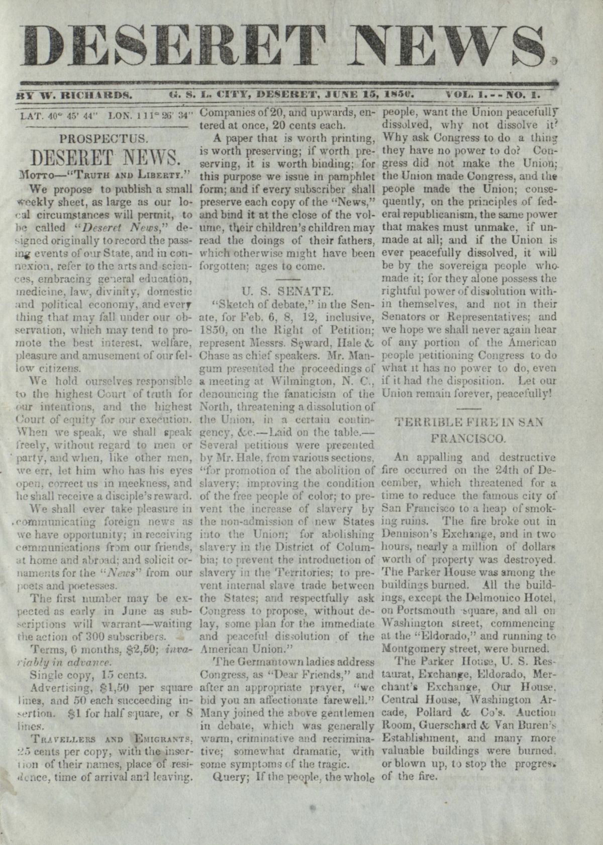 First edition of the Deseret News from June 15, 1850.