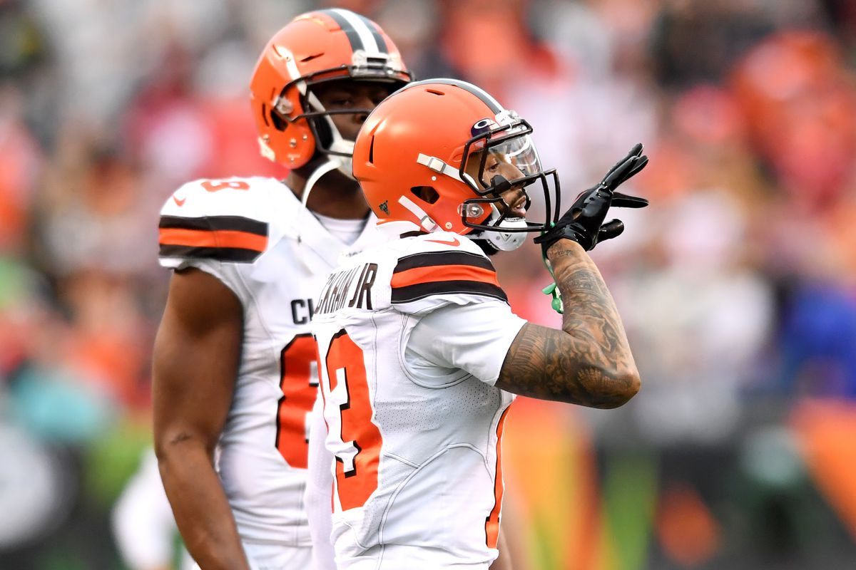 Wide receiver Odell Beckham Jr. #13 of the Cleveland Browns celebrates after catching a 20-yard touchdown in the fourth quarter of a game against the Cincinnati Bengals on December 29, 2019 at Paul Brown Stadium in Cincinnati, Ohio. Cincinnati won 33-23.