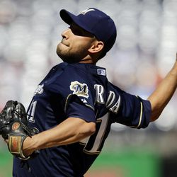 Milwaukee Brewers starting pitcher Marco Estrada throws during the first inning of a baseball game against the Washington Nationals at Nationals Park, Monday, Sept. 24, 2012, in Washington.