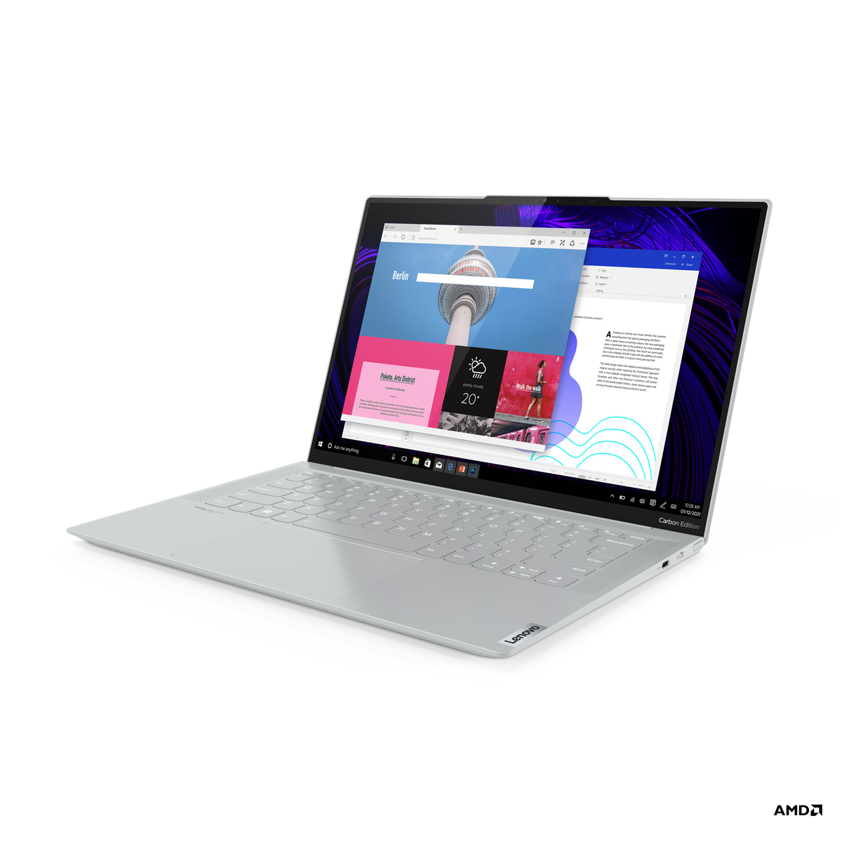 The IdeaPad Slim 7 Carbon open on a white background, facing left. The screen displays two windowed apps on a black and purple background.