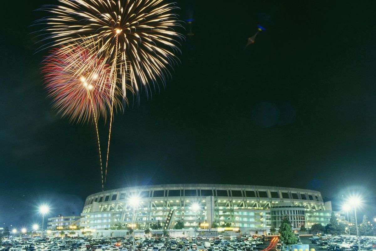 A general view of a fireworks display above Jack Murphy Stadium in San Diego, California. (Photo by: Stephen Dunn/Getty Images)