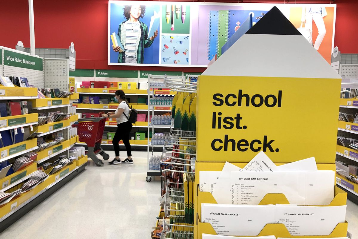 Back-to-school supplies are displayed at a Target store in San Rafael, California.