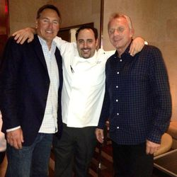 Dwight Clark, chef Barry Dakake and Joe Montana at N9NE Steakhouse.