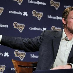 St. Louis Rams general manager Les Snead speaks about the Rams' prospects in the upcoming NFL football draft on Wednesday, April 25, 2012, at the teams' training facility in St. Louis.