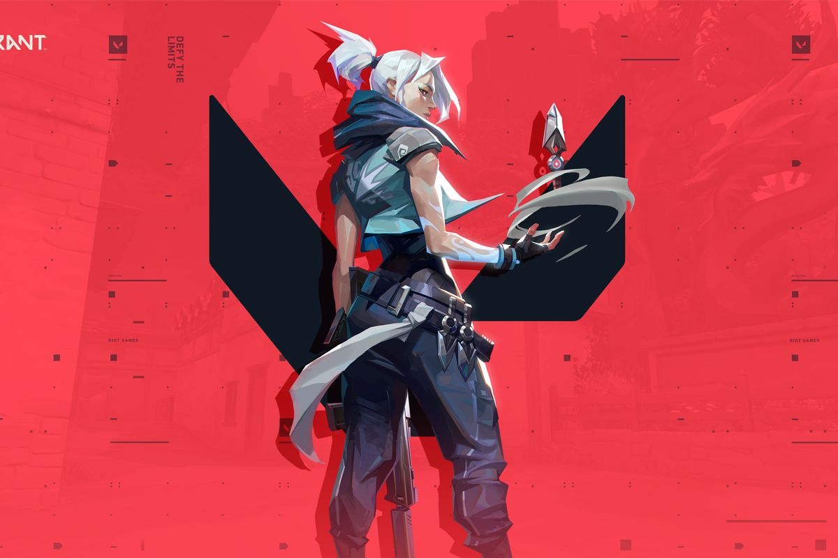 Jett from Valorant stands in front of the game's logo