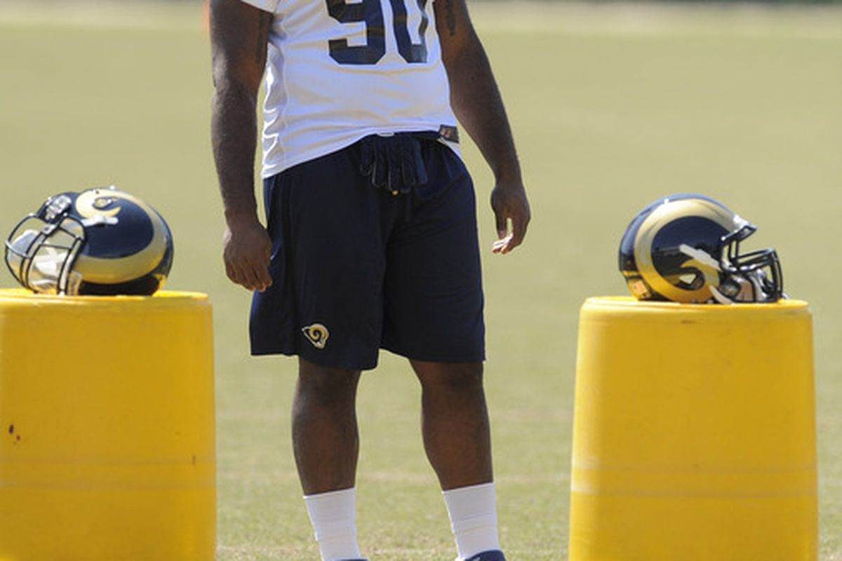 May 23, 2012; St. Louis, MO, USA; St. Louis Rams defensive tackle Michael Brockers (90) looks on during an OTA at ContinuityX Training Center. Mandatory Credit: Jeff Curry-US PRESSWIRE