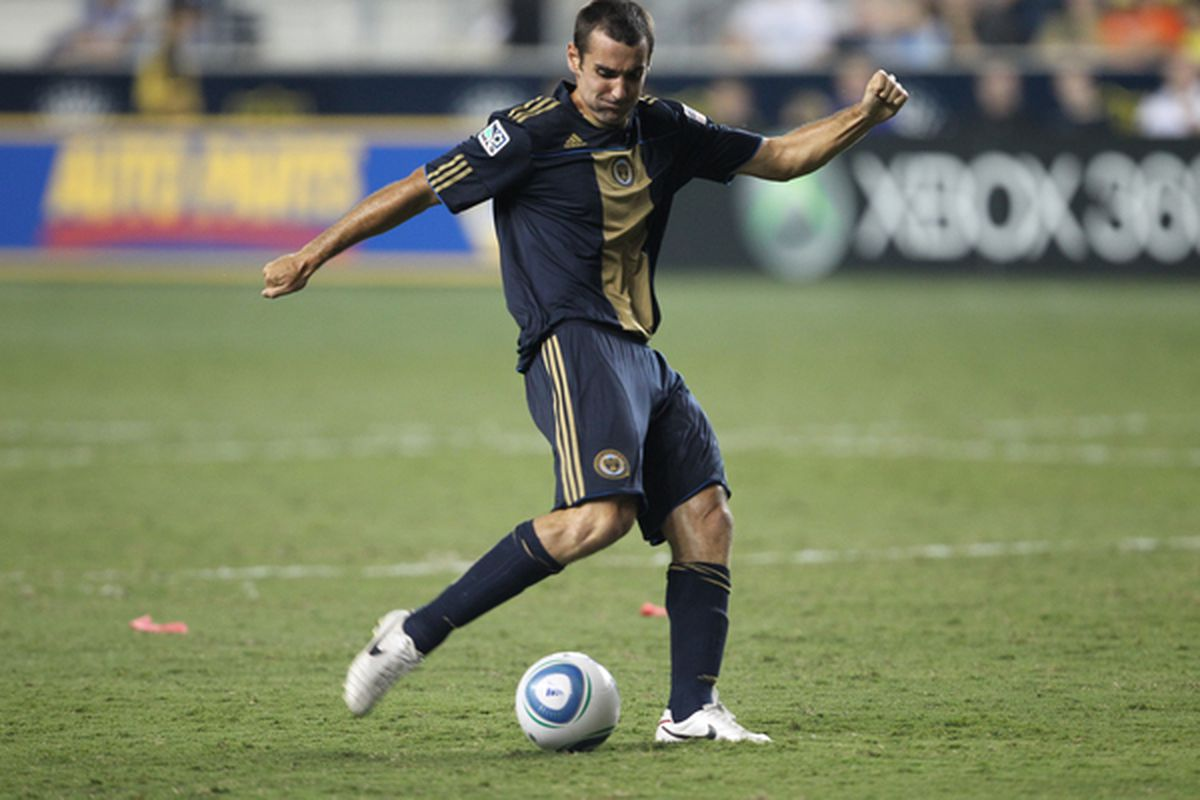CHESTER PA - AUGUST 11: Midfielder Andrew Jacobson #8 Philadelphia Union in action during the game against Real Salt Lake at PPL Park on August 11 2010 in Chester Pennsylvania. (Photo by Hunter Martin/Getty Images)