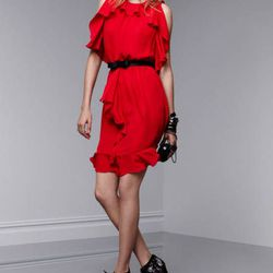 Ruffle dress in Apple red, $39.99; lace miniaudiere, $34.99; bangle in Calypso coral, $16.99; crystal stone cutout bangles, $24.99 each; crystal stone ring, $14.99; lace-up pumps in Meet The Parents print, $39.99