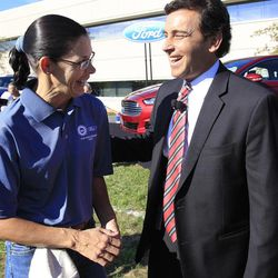 Mark Fields, Ford president of the Americas, talks with Susan E. Spaulding outside the Flat Rock Assembly in Flat Rock, Mich., Monday, Sept. 10, 2012. The plant, formerly known as AutoAlliance International will continue to produce the Mustang and add the Fusion next year. Flat Rock Assembly will be the U.S. producer of the Fusion, employing 2,900 workers on both vehicle lines.