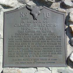 "Plaque on the monument, ""In Honor of Jim Bridger,"" located in Box Elder County, Utah."