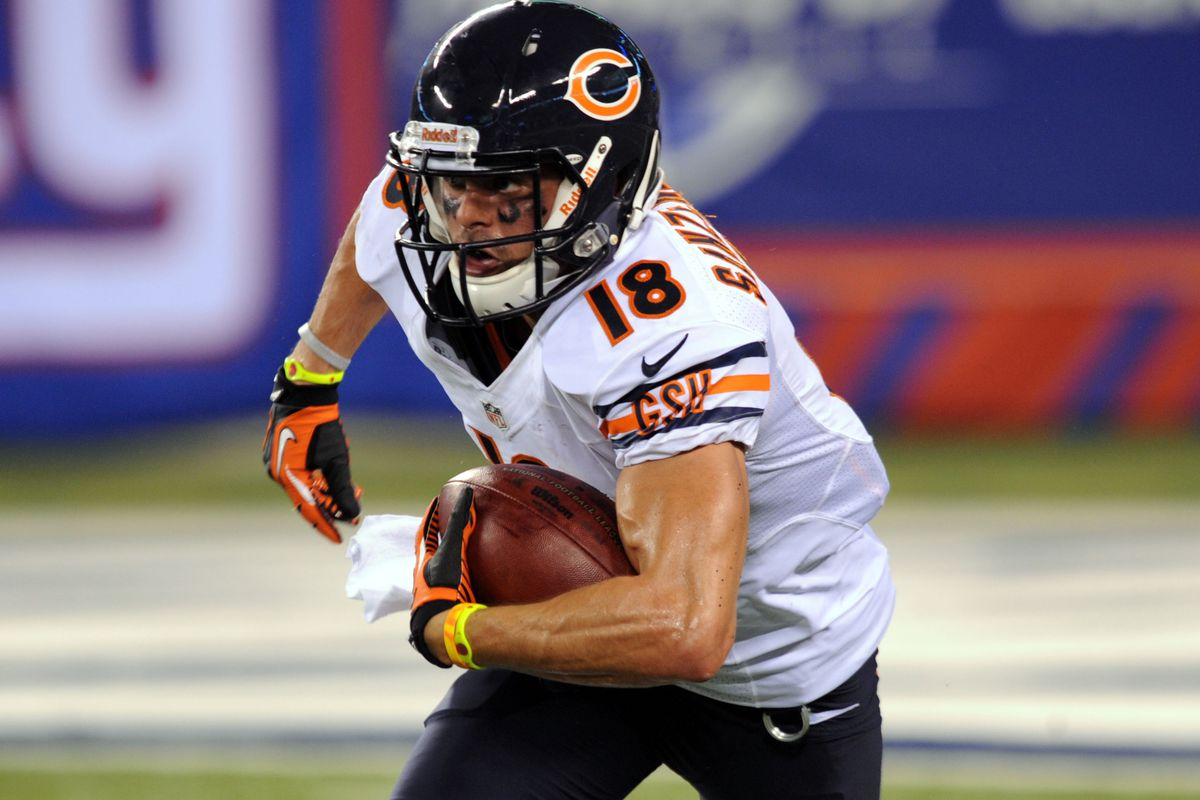 Aug 24, 2012; East Rutherford, NJ, USA; Chicaho Bears wide receiver Dane Sanzenbacher (18) during the second half against the New York Giants at Metlife Stadium. The Bears won the game 20-17 Mandatory Credit: Joe Camporeale-US PRESSWIRE
