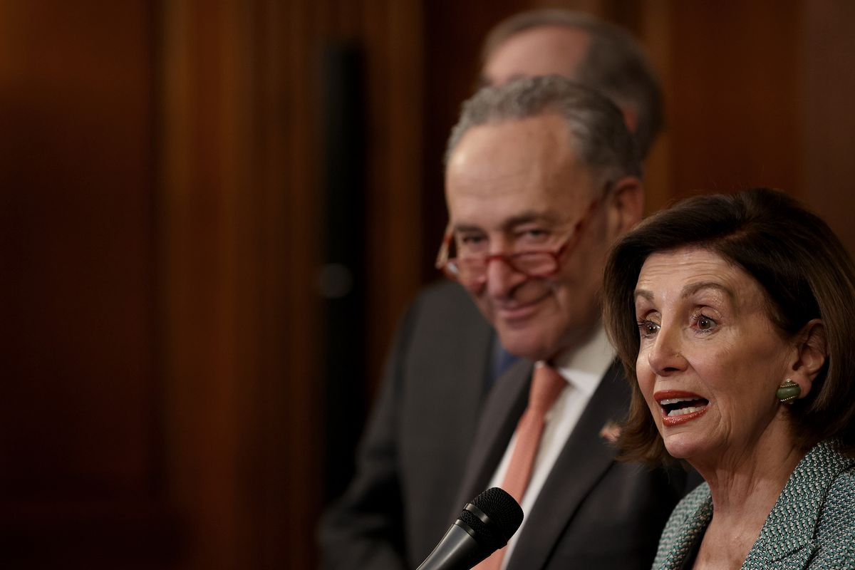 Nancy Pelosi And Chuck Schumer Hold Press Event To Mark Anniversary Of For The People Act