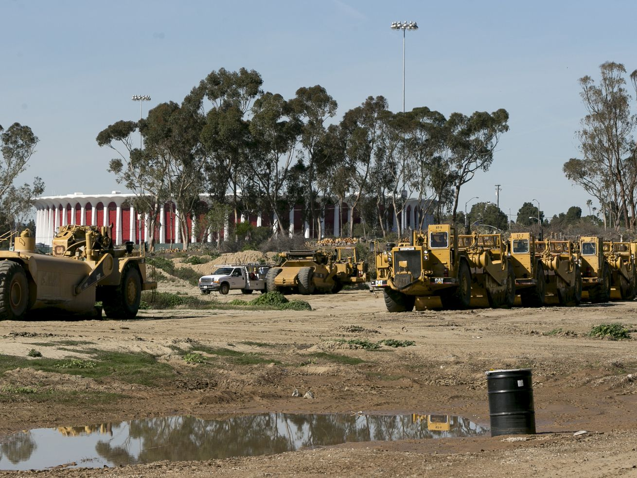 Construction at Hollywood Park, near where the Clippers arena would be built.