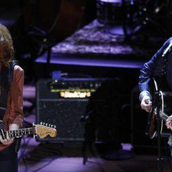 Bonnie Raitt performs with John Hiatt at the 11th annual Americana Honors & Awards, Wednesday Sept. 12, 2012, in Nashville, Tenn.