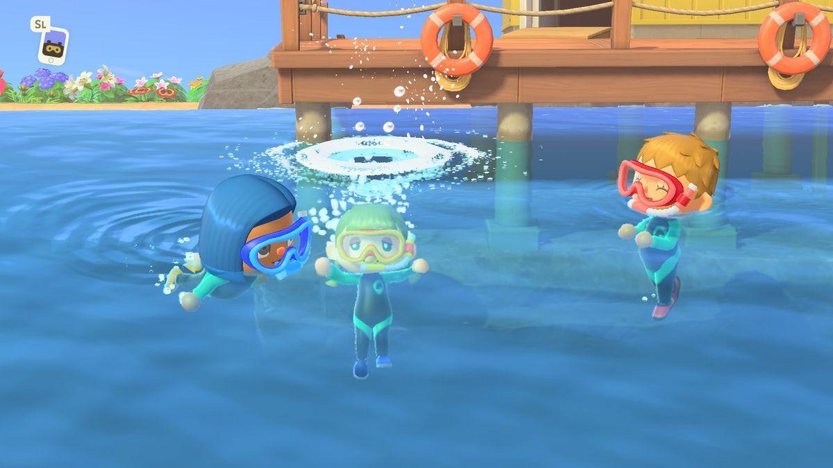 Swimming in Animal Crossing New Horizons.