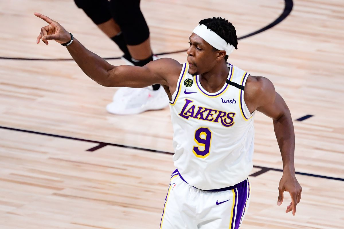 Rajon Rondo of the Los Angeles Lakers reacts during the fourth quarter against the Miami Heat in Game Six of the 2020 NBA Finals at AdventHealth Arena at the ESPN Wide World Of Sports Complex on October 11, 2020 in Lake Buena Vista, Florida.