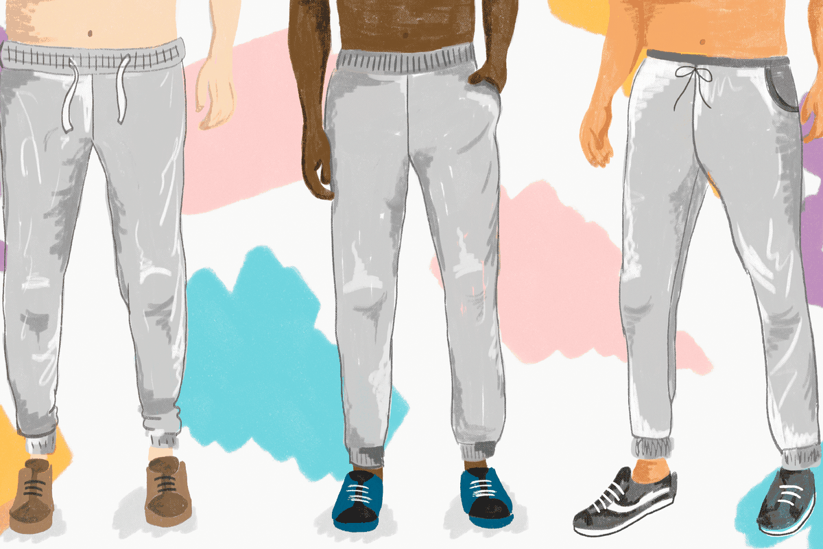 986993d093f36 An illustration below the waist of men in gray sweatpants. Ah ...