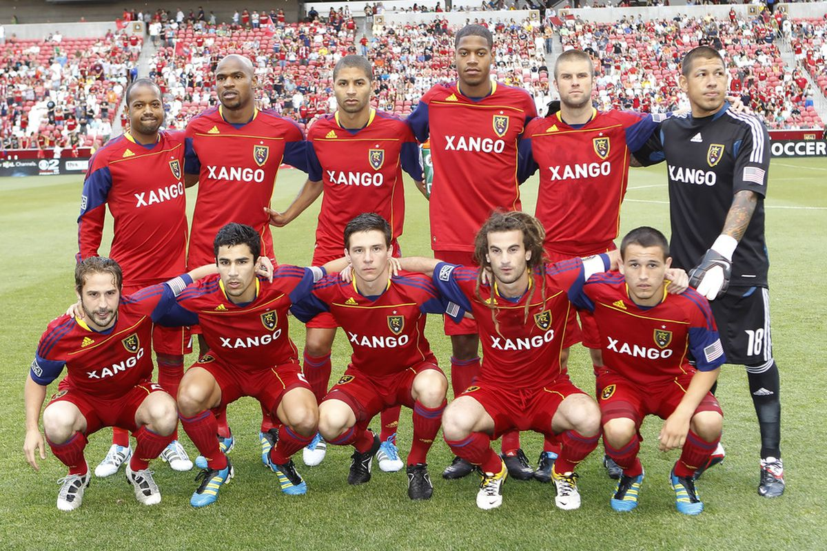 SANDY, UT - JULY 9: Players of Real Salt Lake pose for a team picture before a game against FC Dallas at an MLS soccer game July 9, 2011 at Rio Tinto Stadium in Sandy, Utah. Real Salt Lake beat FC Dallas 2-0. (Photo by George Frey/Getty Images)
