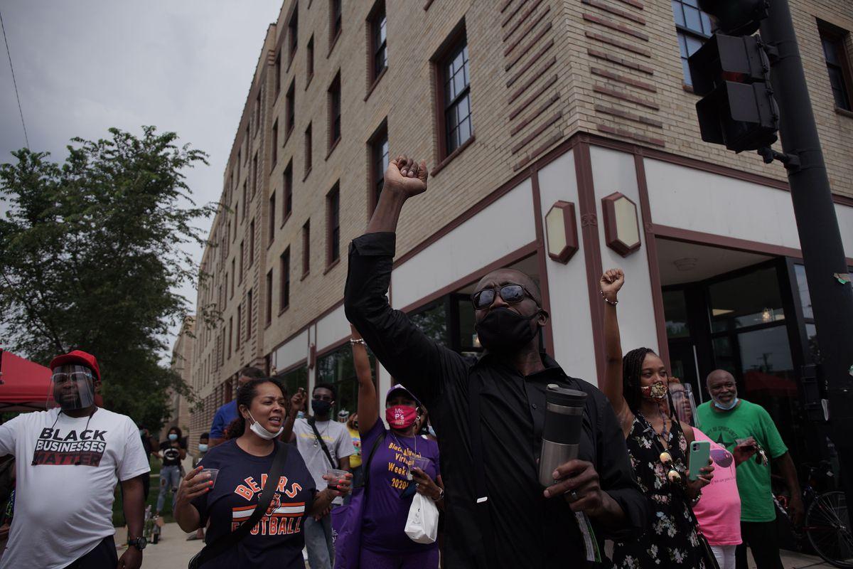 Protesters march Saturday in Bronzeville.