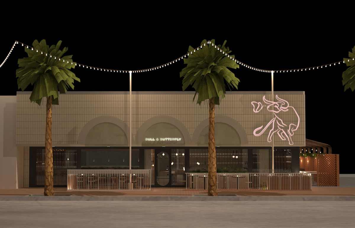 A rendering of Bull and Butterfly Steakhouse with pink neon bull outside.