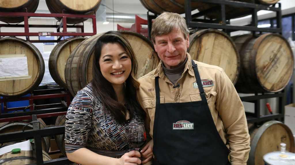 Ji Suk Yi with Wild Blossom Meadery owner Greg Fischer. | Brian Rich/For the Sun-Times