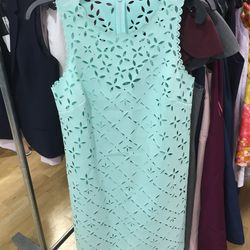 Lasercut seafoam dress, $60