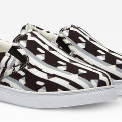 Slip-On Shoe in Black/White Print, $29.99.