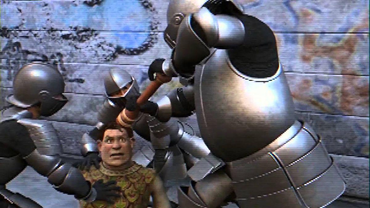 """Shrek getting """"pepper sprayed"""" by a Knight"""