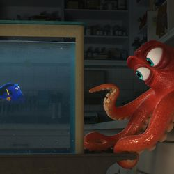 """In Disney/Pixar's """"Finding Dory,"""" everyone's favorite forgetful blue tang, Dory (voice of Ellen DeGeneres), encounters an array of new — and old — acquaintances, including a cantankerous octopus named Hank (voice of Ed O'Neill)."""
