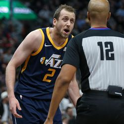 Utah Jazz forward Joe Ingles (2) disputes a call with referee Violet Palmer (12) during the game against the Cleveland Cavaliers at Vivint Arena in Salt Lake City on Saturday, Dec. 30, 2017.