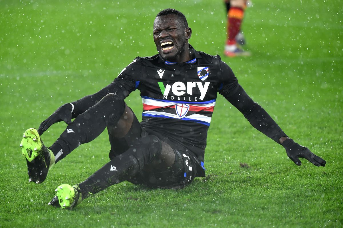 Omar Colley of UC Sampdoria reacts during the Serie A...