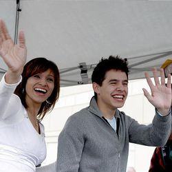 """""""American Idol"""" finalist David Archuleta and his mom, Lupe, acknowledge fans at The Gateway in Salt Lake City Friday."""
