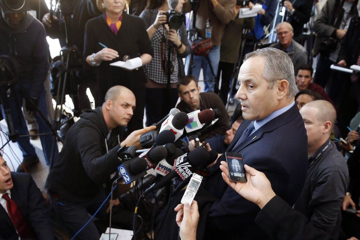 Dean Angelo, then Fraternal Order of Police Lodge #7 president, talks to members of the media after a bond hearing for Chicago police officer Jason Van Dyke in 2015, in Chicago. Angelo died Tuesday after battling COVID-19 for weeks.