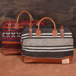Carpet bags repurposed from vintage rugs, $550.