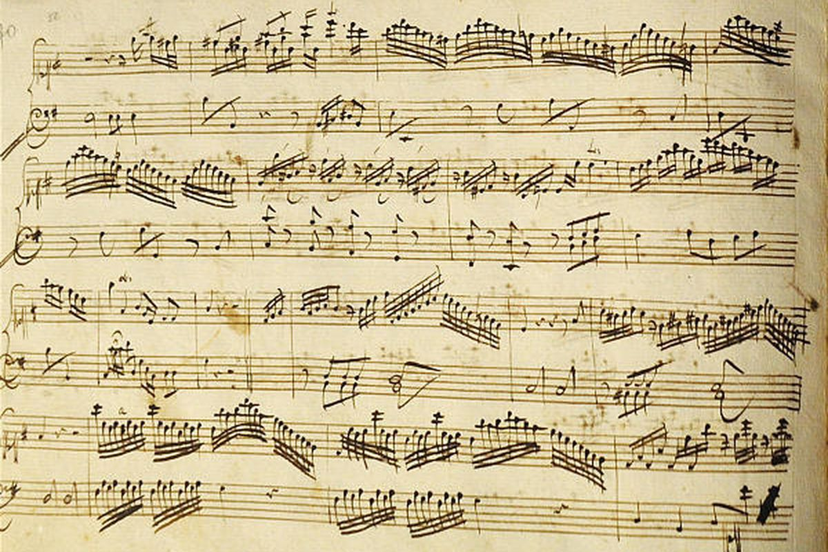 Sheet music, recently identified as part of a childhood creation by Mozart, is seen during a press conference held by the International Mozarteum Foundation in Salzburg, Austria, on Sunday.