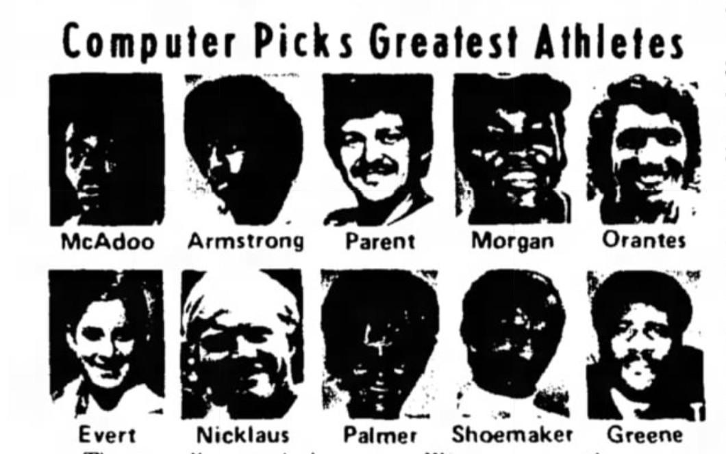 A news clipping showing the 1975 Seagram Award winners: Bob McAdoo, Otis Armstrong, Bernie Parent, Joe Morgan, Manuel Orante, Chris Evert, Jack Nicklaus, Sandra Palmer, Willie Shoemaker, and Joe Greene.