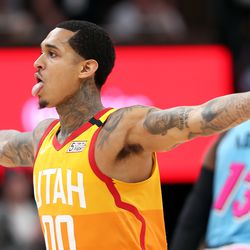Utah Jazz guard Jordan Clarkson (00) celebrates a 3-point shot as the Utah Jazz and the Miami Heat play in an NBA basketball game at Vivint Smart Home Arena in Salt Lake City on Wednesday, Feb. 12, 2020. Utah won 116-101.
