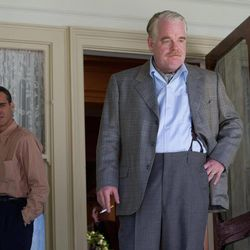 """This film image released by The Weinstein Company shows Joaquin Phoenix, left, and Philip Seymour Hoffman in a scene from """"The Master.""""  The film will be presented at the 37th Toronto International Film festival running through Sept. 16."""
