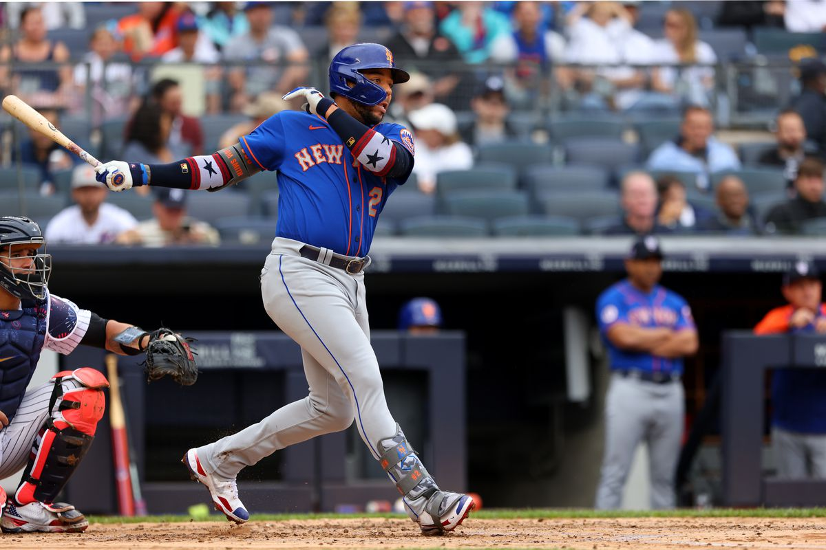 Dominic Smith #2 of the New York Mets in action against the New York Yankees during a game at Yankee Stadium on July 3, 2021 in New York City. The Mets defeated the Yankees 8-3.