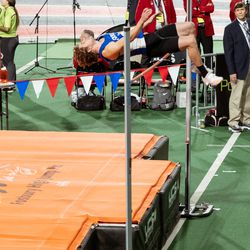 Fremont High's Logan Tittle clears the bar at the 2020 Simplot Games.