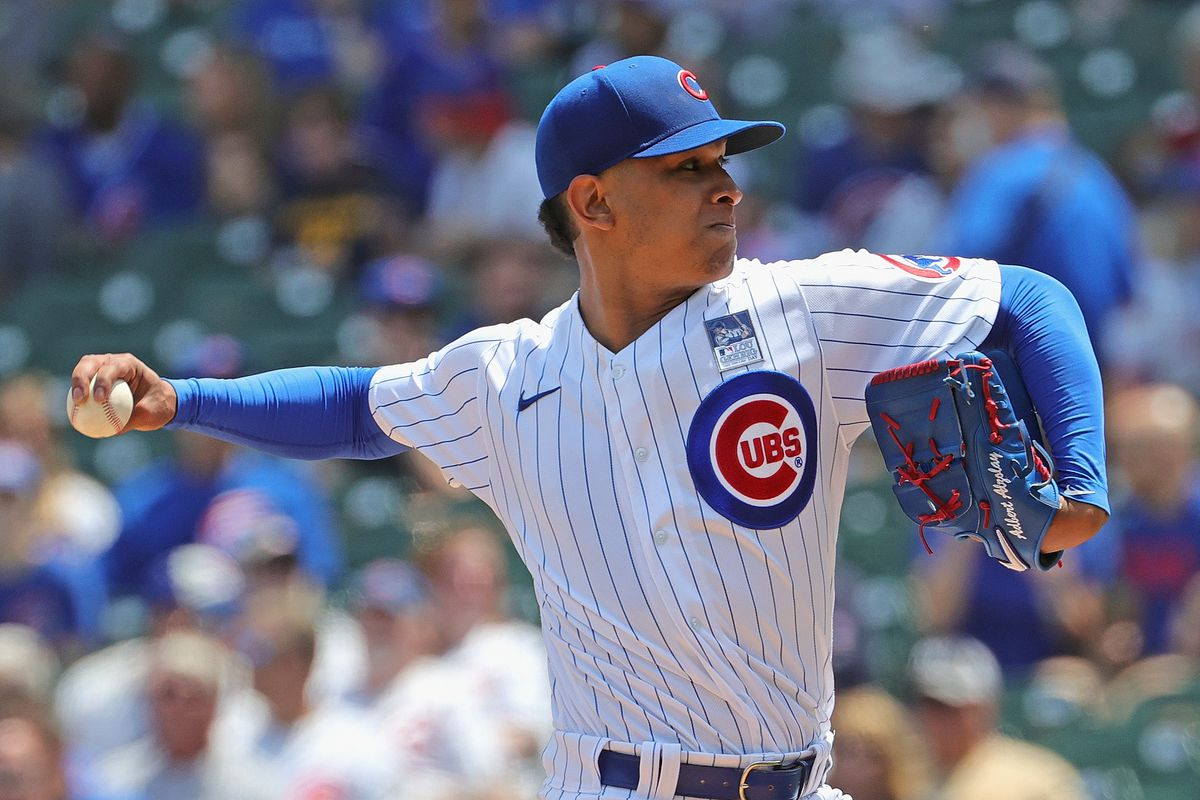 Cubs starter Adbert Alzolay delivers against the Padres on Wednesday at Wrigley Field.