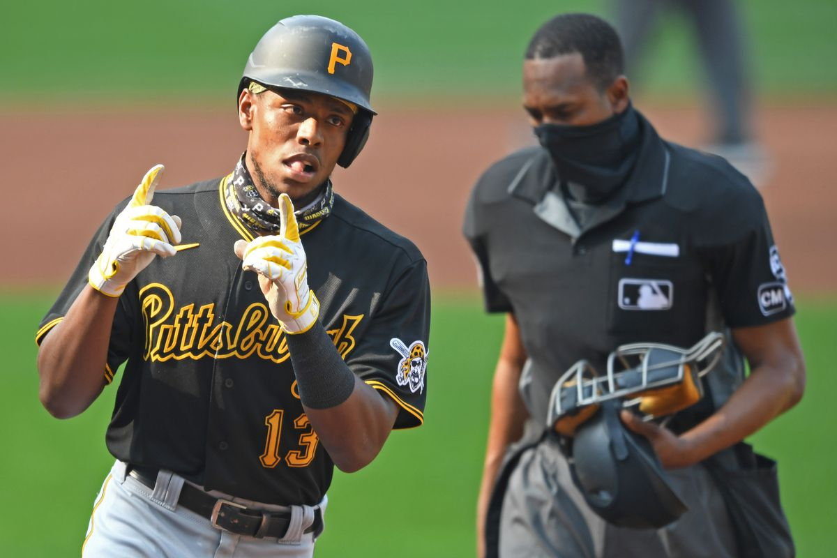 Pittsburgh Pirates third basemen Ke'Bryan Hayes celebrates after hitting a solo home run during the third inning against the Cleveland Indians at Progressive Field.