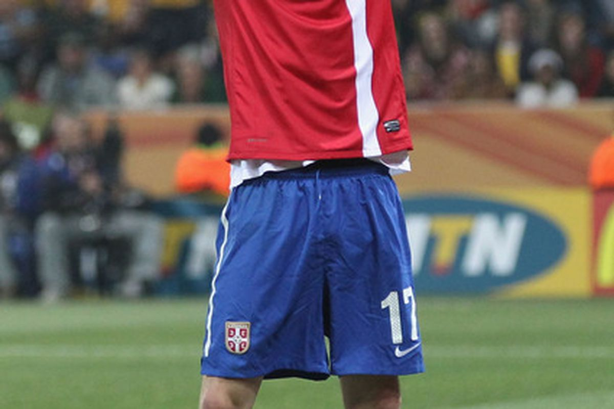 Milos Krasic, World Cup star for Serbia....diver.  (Photo by Streeter Lecka/Getty Images)