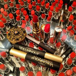 """This is the contents of my Today Makeup on my lipstick table. Very Meta. Why do I have two <b>L'Oreal</b> <a href=""""http://www.lorealparisusa.com/en/products/makeup/eyes/mascara-primer/voluminous-carbon-black-mascara.aspx"""">Voluminous</a> mascaras in my mak"""