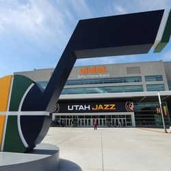 The Miller family unveil the new 14-foot high J-Note statue on the plaza of Vivint Smart Home Arena and let the public  take self-guided  tours of the renovation arena in Salt Lake City on Tuesday, Sept. 26, 2017.