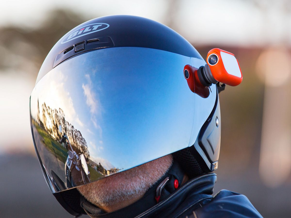 A Graava camera, mounted on a motorcycle helmet