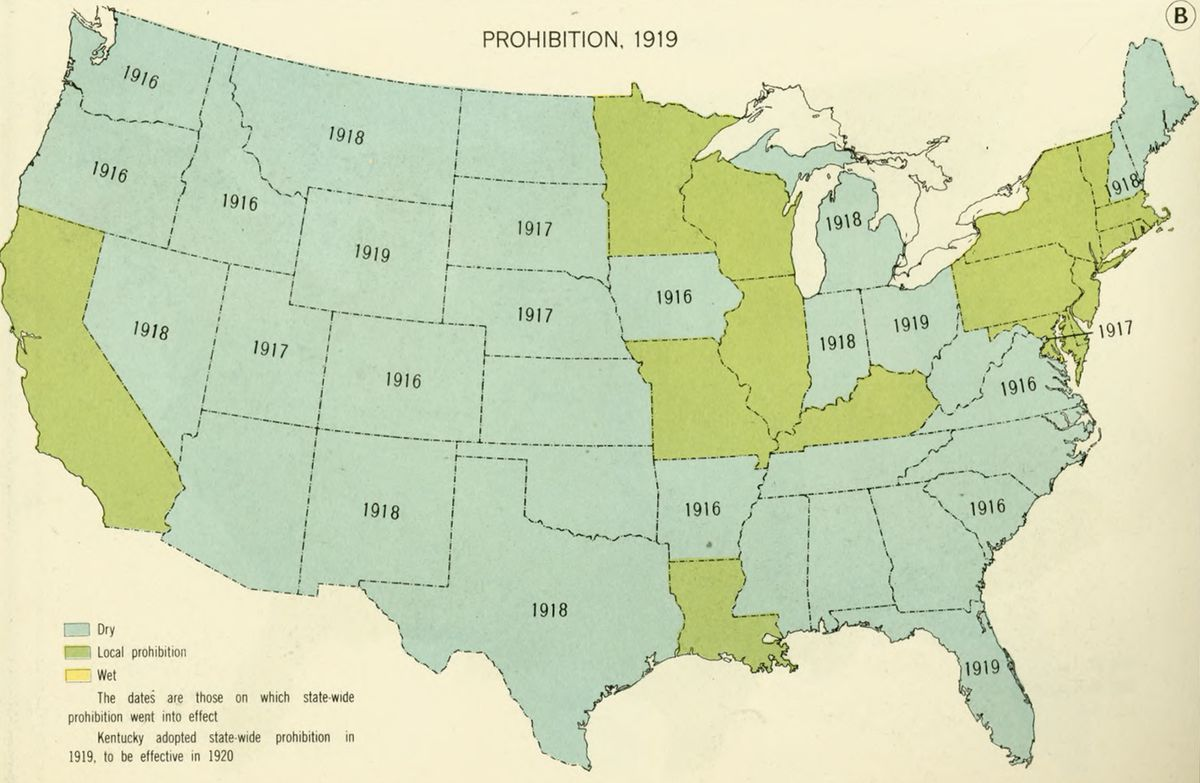 Prohibition in 1919.