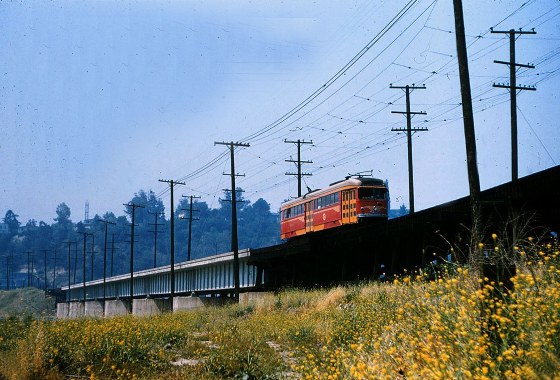 Another view of PE's Glendale-Burbank line crossing the LA River, where a pedestrian path will soon be built.