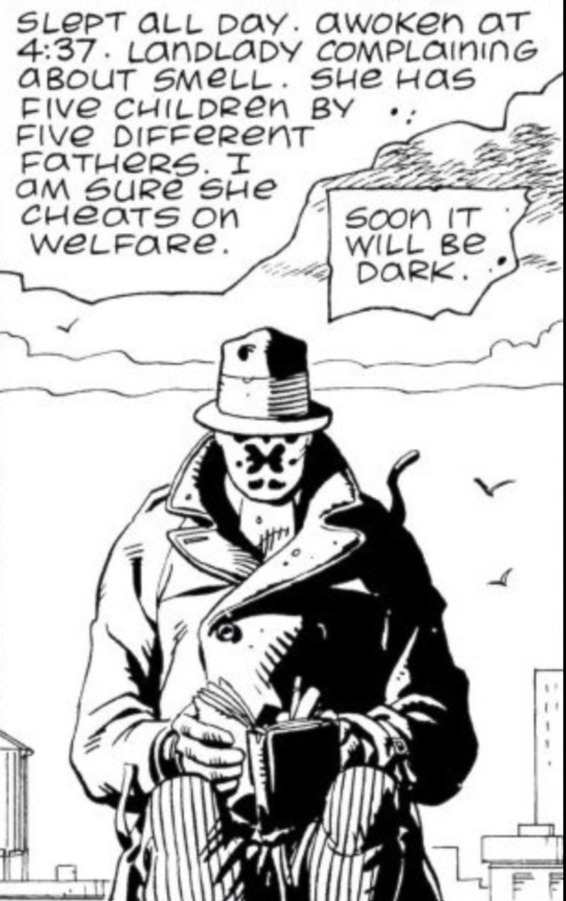 "A panel from ""Watchmen"" in which the character Rorschach writes in his diary, ""Slept all day. Awoken at 4:37. Landlady complaining about smell. She has five children by five different fathers. I am sure she cheats on welfare. Soon it will be dark."""
