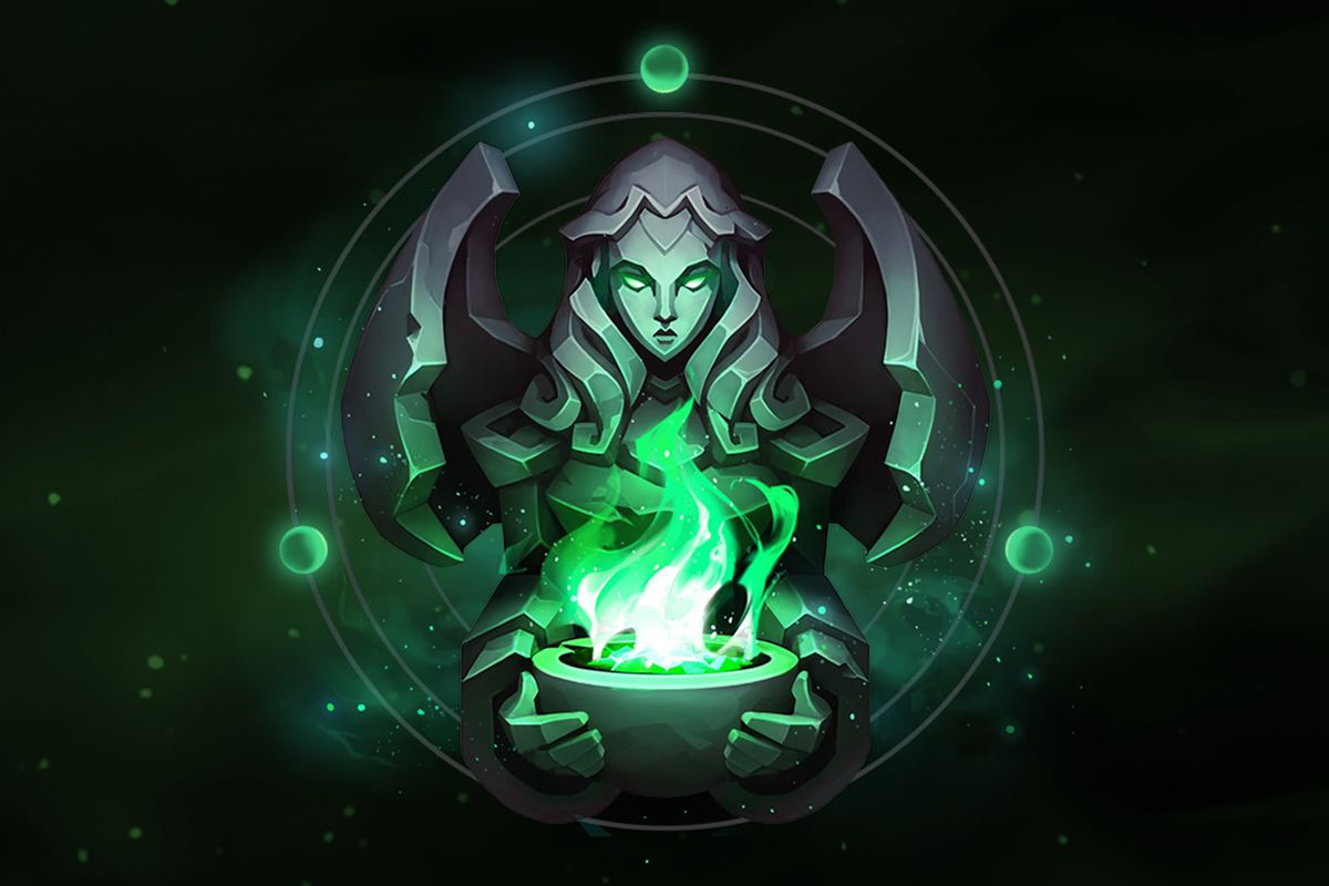 A statue of a woman holds up a green flame